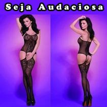 Lingerie Body Com Cinta Liga Super Sensual Bodystocking