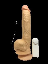 Pênis em silicone c/escroto e bullet -24,5x5cm