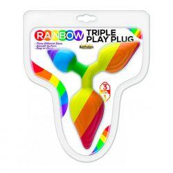Plug Triplo em PVC Colorido - Rainbow - Hott Products
