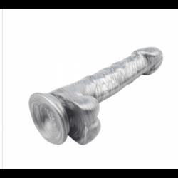 Pênis Realístico 20 cm Com Escroto e Ventosa Justin Sider Silver - Chisa