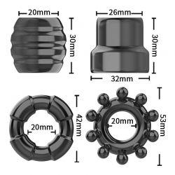 COCK RING SET - Kit com 4 anéis penianos - Jelly